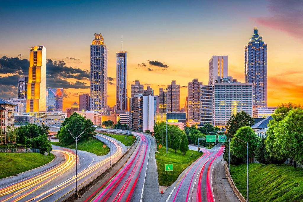 Atlanta downtown city skyline over Freedom Parkway. Video production