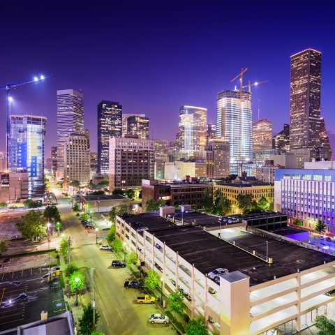 Image of downtown Houston city skyline. Houston corporate video production