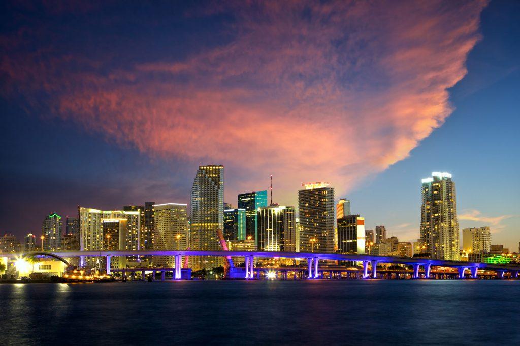 Downtown Miami McArthur Bridge. Video Production
