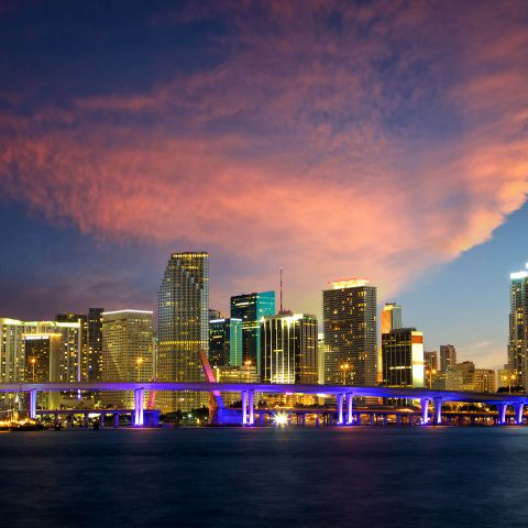 Downtown Miami McArthur Bridge. Video Production