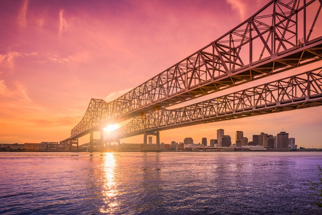 Bridge in New Orleans with sunset. Video Production