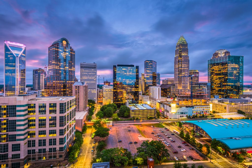 Charlotte, North Carolina, USA skyline. Video production