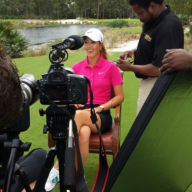 Camera Crew filming Michelle Wie