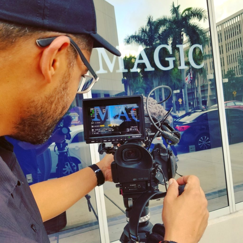 Filming a promo video at Miami Dade Comunity college