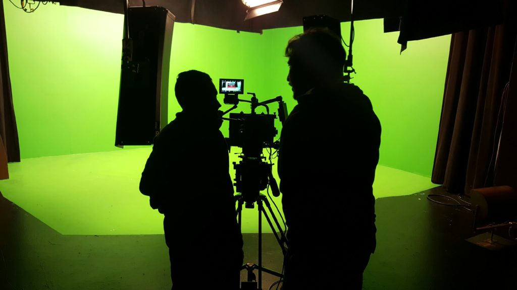 Our Camera Crew setting up to shoot on a Green Screen