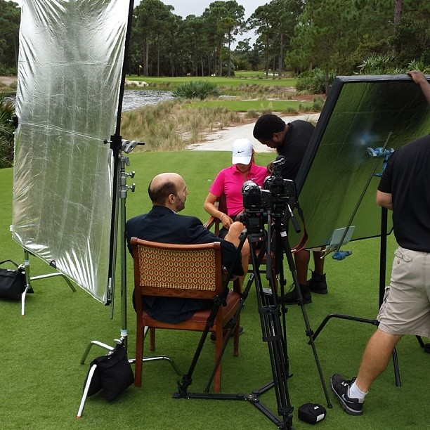 Setting up on a Golf Course for an Interview with Michelle Wie
