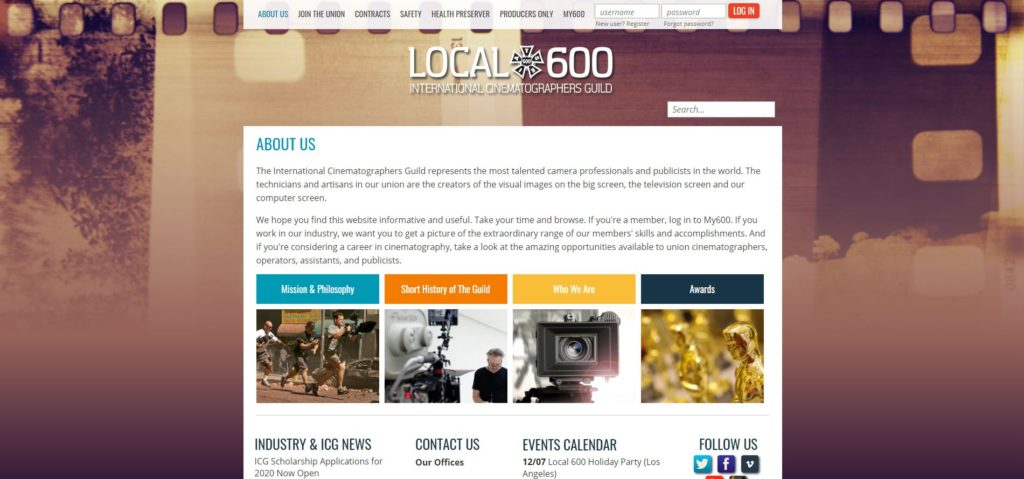 Charlotte Film Unions and Guilds - The International Cinematographers Guild Local 600