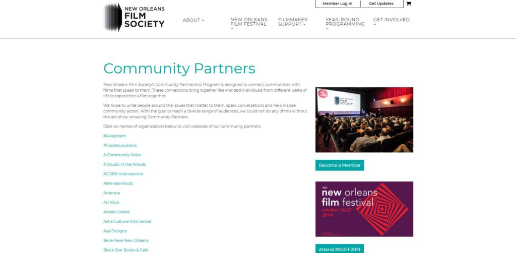 New Orleans Film Unions and Guilds - New Orleans Film Society Community Partnership Program