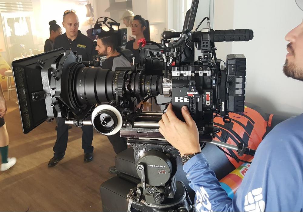 professional film crew recording