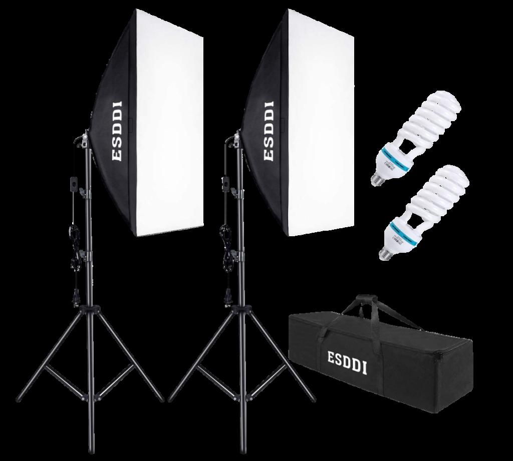 ESDDI Softbox Photography Lighting Kit-Transparent