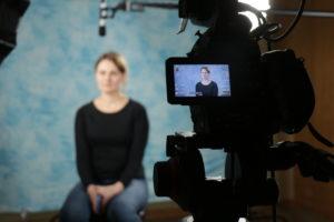 camera crew filming testimonials