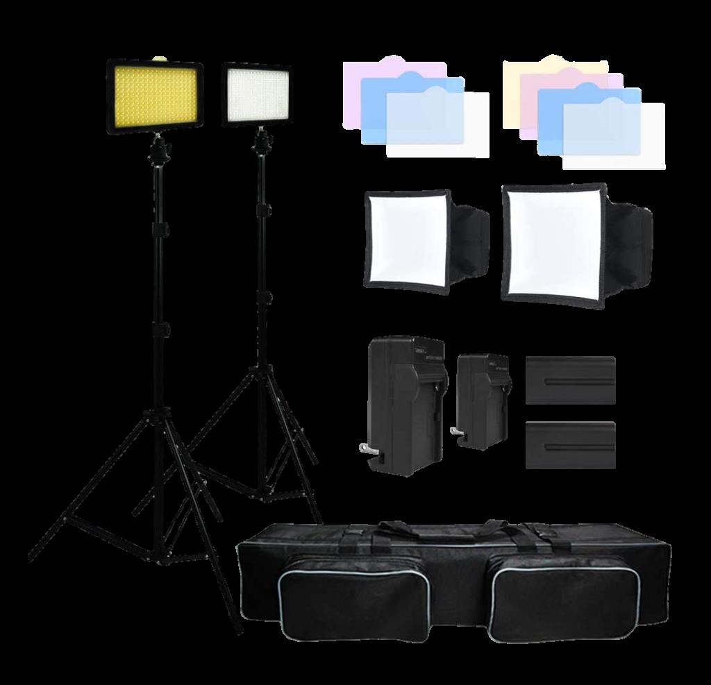 Julius Studio 216-Barndoor Continuous-LED Lighting Kit- Transparent