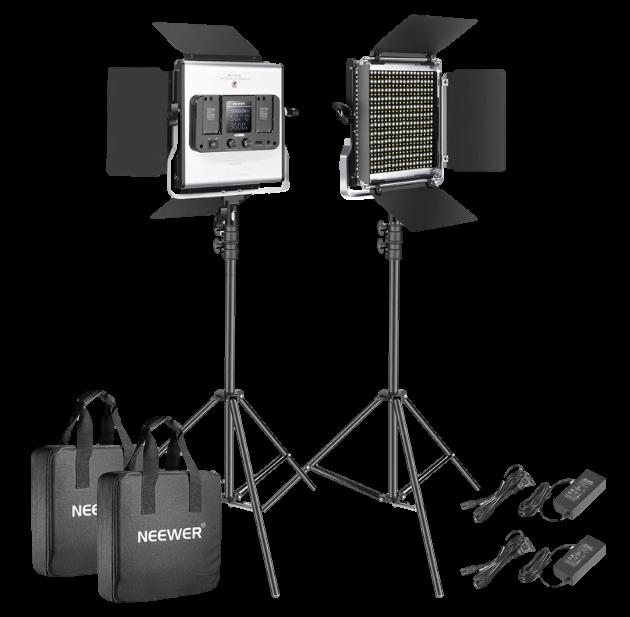 Neewer 2 Pack 528 LED Video Light Kit- Transparent
