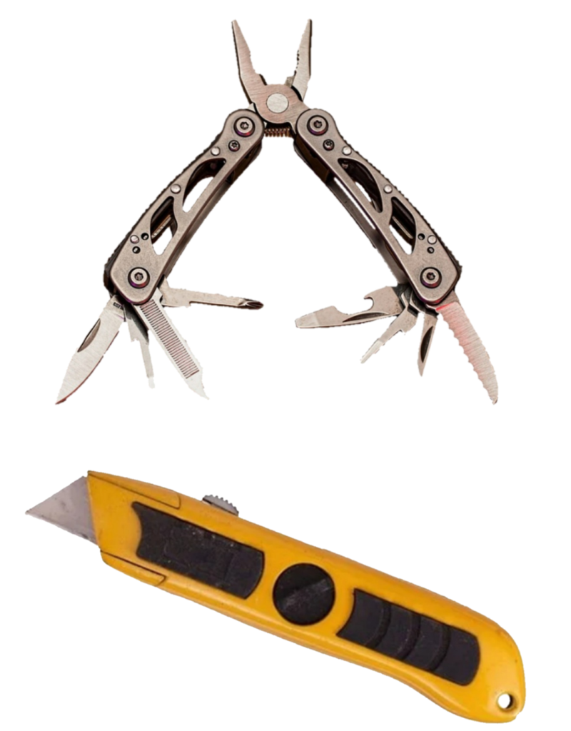 multi-tool and Utility knife-transparent