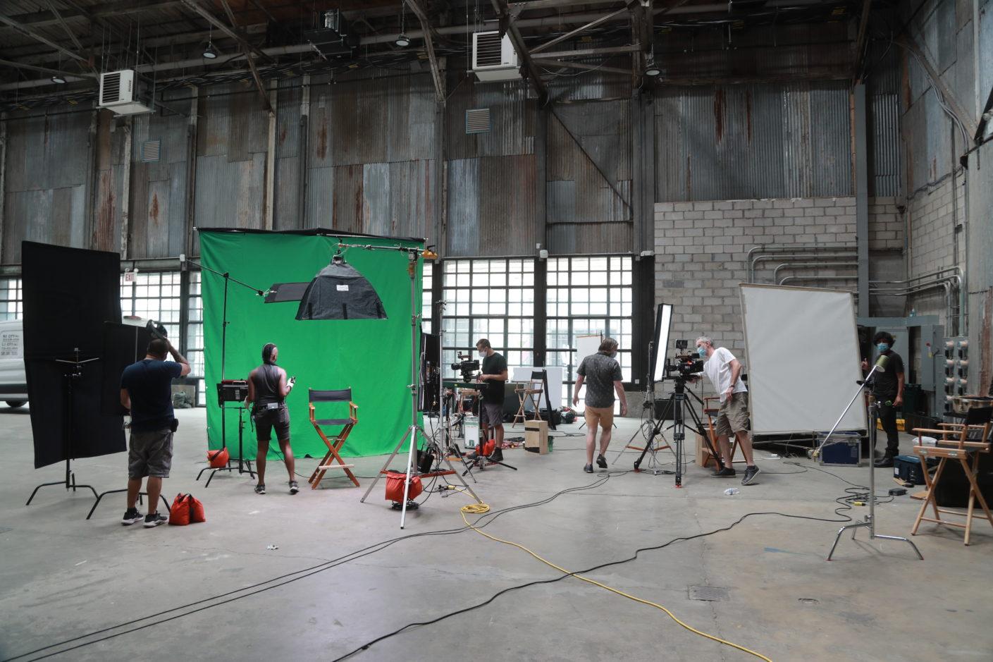 Beverly Boy film crew green screen