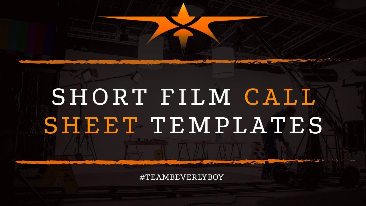 Short Film Call Sheet Templates
